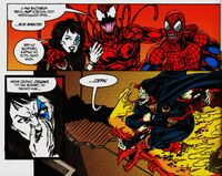 Carnage, Shriek, Doppelganger and Demogoblin in a warehouse