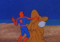 Sandman vs Spideer-Man beach fighting Earth-6799