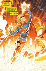 Supergirl emerging from the Sun