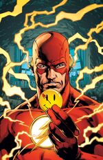 The Flash examines The Comedian's button.