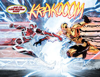 Using his power to accelerate the speed of time, Flash battles Zoom.