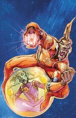 Larfleeze and Stargrave investigating the robbery