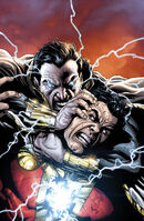 Black Adam battles the Wizard's new champion, Billy Batson