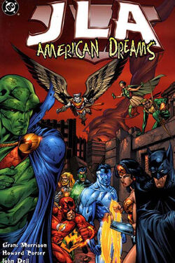 Cover for the JLA: American Dreams Trade Paperback