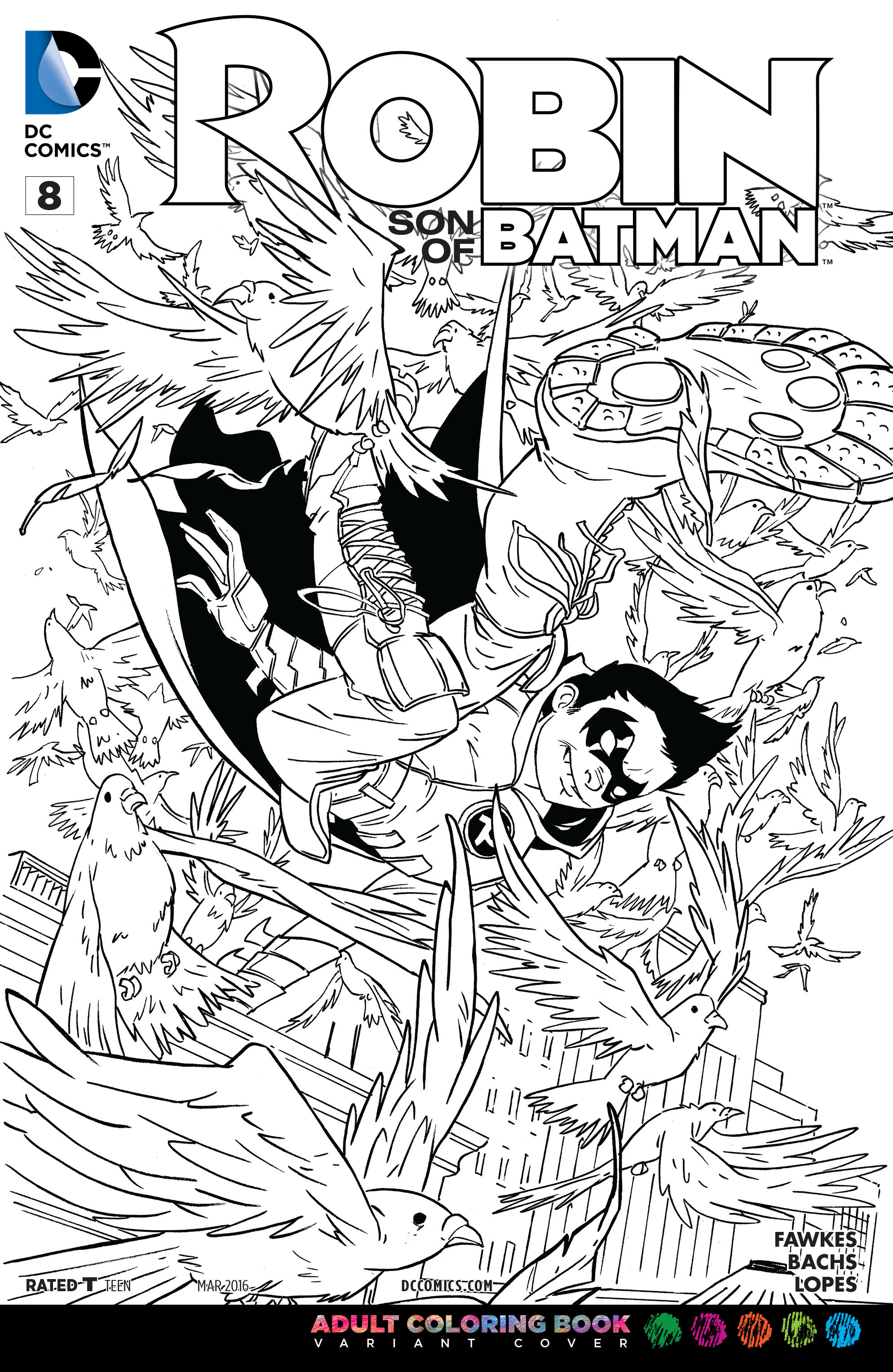 Image - Robin Son of Batman Vol 1 8 Adult Coloring Book Variant.jpg ...