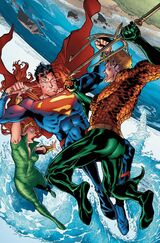Aquaman and Mera facing off against Superman