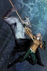 Aquaman attempting to recruit King Shark
