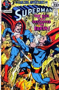 Superman and the duplicate from Quarrm realize that their battle would destroy the Earth