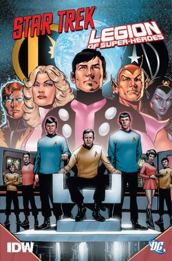 Cover for the Star Trek/Legion of Super-Heroes Trade Paperback