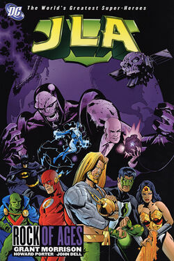 Cover for the JLA: Rock of Ages Trade Paperback