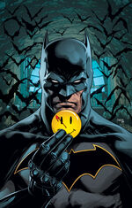Batman holding the mysterious button