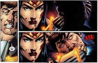Wonder Woman snaps Maxwell Lord's neck, an action that changed the world's perception of her