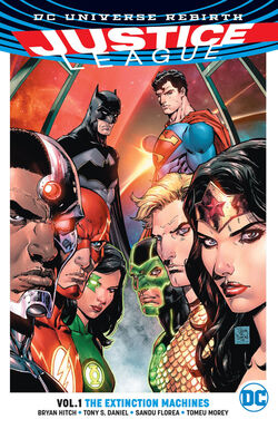 Cover for the Justice League: The Extintion Machine Trade Paperback