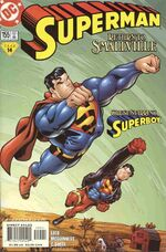 Superboy flying high with Superman.