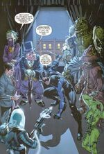 Nightwing surrounded by enemies