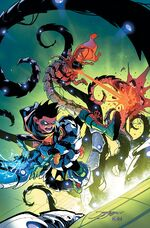The Super Sons fighting Yggardis