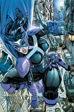 Helena Wayne, former Robin of Earth 2 and now Huntress of Prime Earth