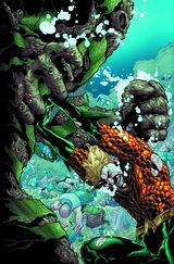 Aquaman trying to keep the Shaggy Man back