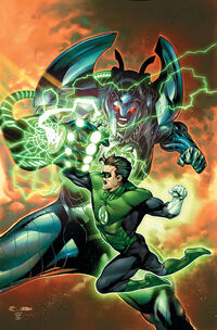The gaunlet manifests as Cataclysm and attacks Hal Jordan under the command of Sarko