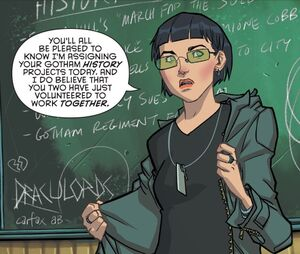 Professor MacPherson teaches her class at the Gotham Academy.