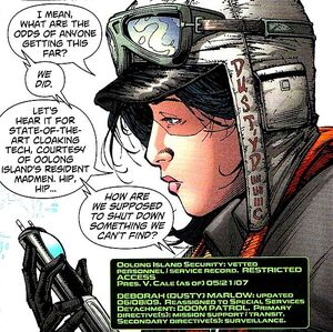Dusty Marlow is her team's surveillance expert and serves as mission support.