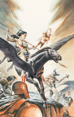 Wonder Woman, Wonder Girl and Ferdinand descend into the underworld