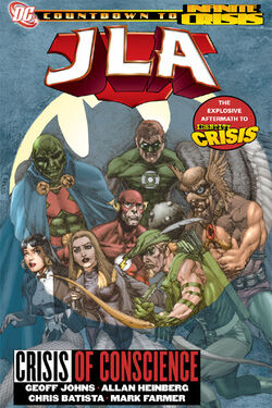Cover for the JLA: Crisis of Conscience Trade Paperback