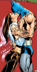 Batman and Talia al Ghul embrace