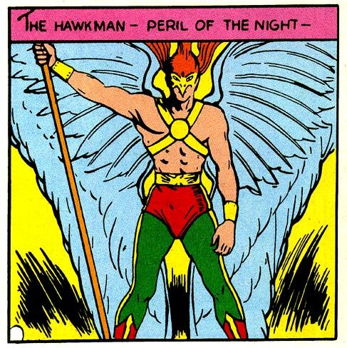 Illustration of Hawkman- with the caption 'The Hawkman- Peril of the Night'