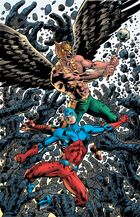 Hawkman and Atom battle the golems of Moz-Ga