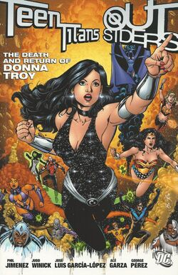 Cover for the Teen Titans/Outsiders: The Death and Return of Donna Troy Trade Paperback