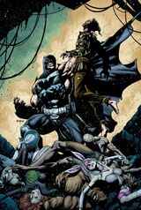 """Batman"" Bane standing over the defeated Arkhamites"