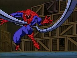 Doctor Octopus Punches Spider-Man