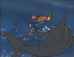 Namor Waves Off Shark