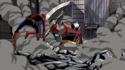 Spider-Man Leaps Away from Terrax AEMH