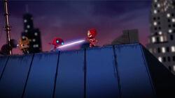 Iron Man Blasts Spider-Man SBD