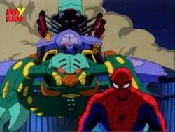 Tri-Slayer Hovers Behind Spider-Man