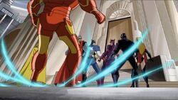 Iron Man Lands Near Avengers Terrax Battle AEMH