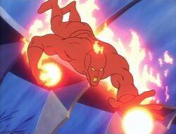 Human Torch Throws Fireballs
