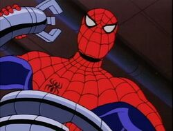 Spider-Man Struggles with Doctor Octopus Tentacle