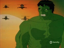 Hulk Watches Helicopters Sunset
