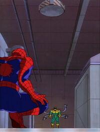 Spider-Man Lures Doctor Octopus Towards Electromagnet