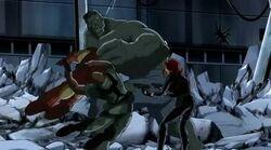 Hulk Knocks Fury Widow Iron Man UA