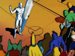 Silver Surfer Addresses Space Station Crowd
