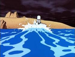 Silver Surfer Walks Into Ocean