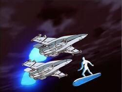 Silver Surfer Flies Around Navy Jets