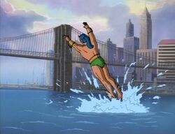 Namor Flies Towards Brooklyn Bridge