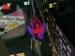 Spider-Man Swings Past DB Billboard