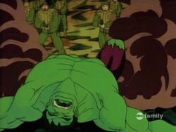 Soldiers Approach Unconscious Hulk
