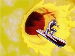 Silver Surfer Flies Through Tech World Blast